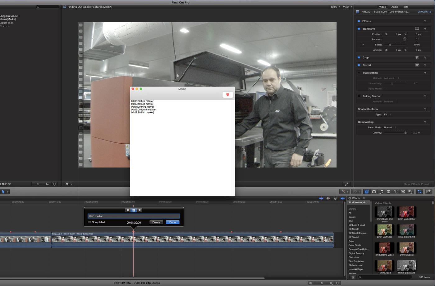 MarkX Final Cut Pro X marker automation