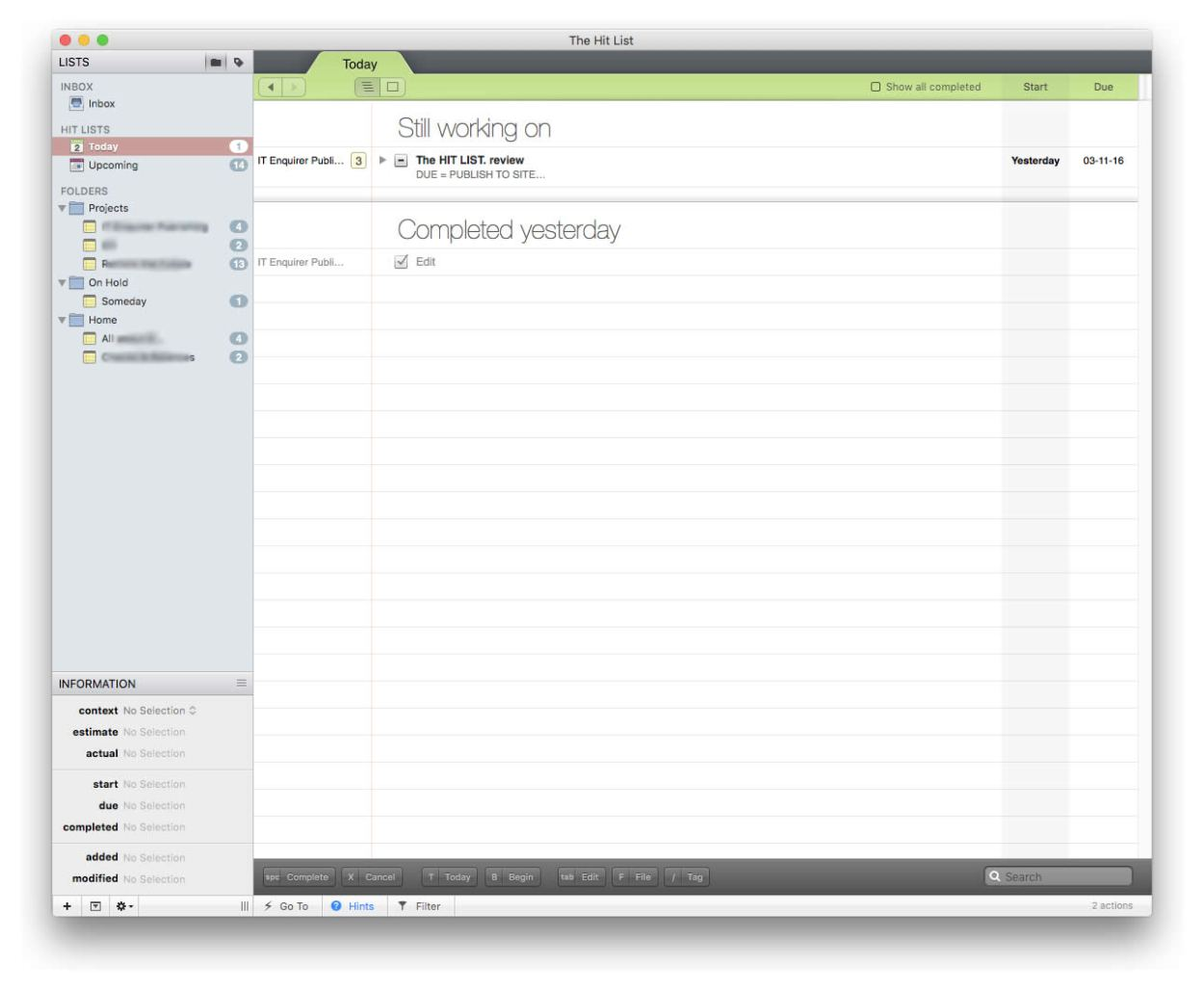 The hit list mac interface