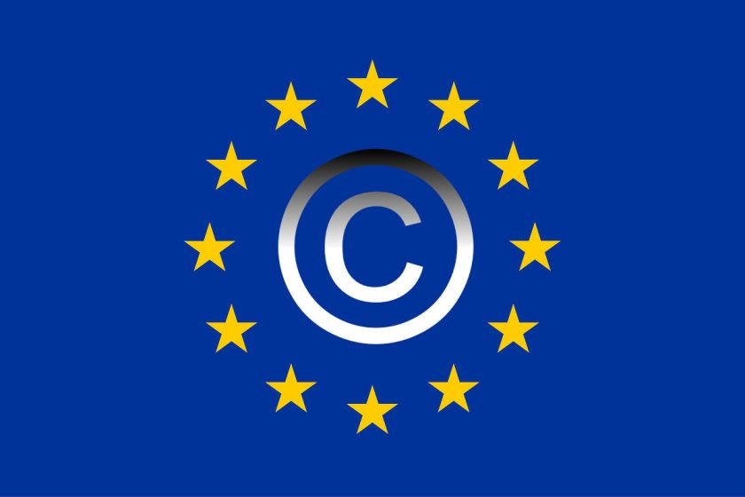 EU flag with copyright symbol
