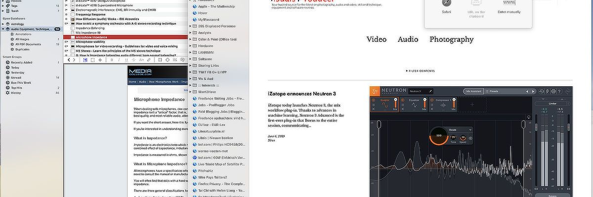 DEVONthink Pro 3's web page capture interface.