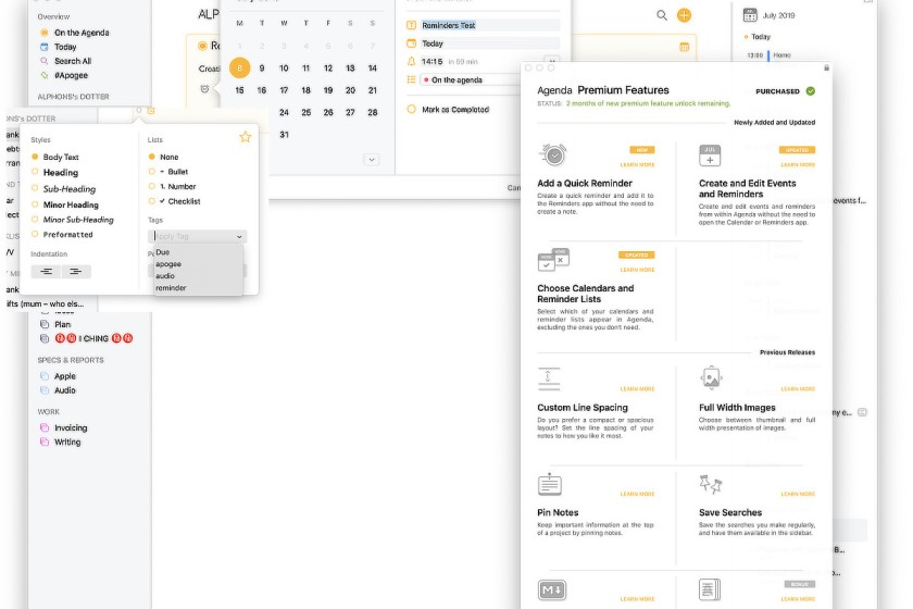 The Agenda app. Composite of interface elements. Review.