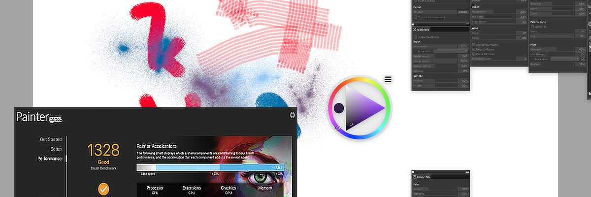 Review of Painter 2020 - composite view of interface with performance score