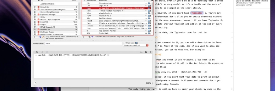 Entering edited date in Ulysses using Typinator