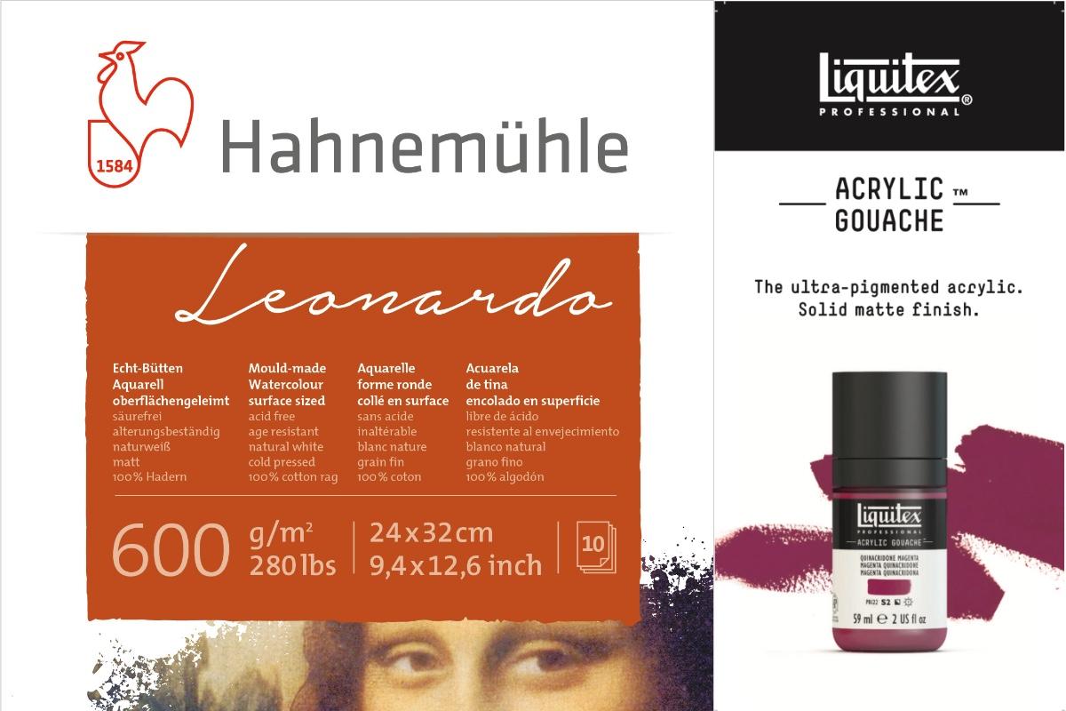 hahnemuehle Leonardo paper watercolour and liquitex acrylic gouache paint bottle
