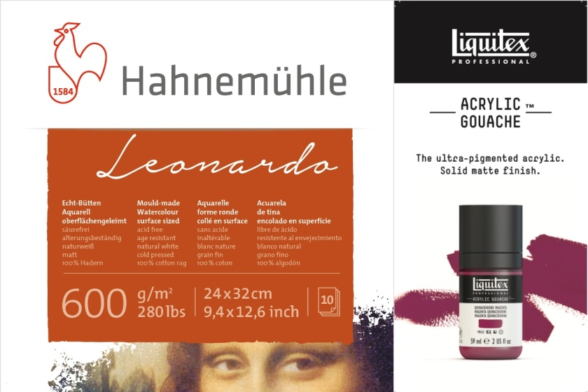 hahnemuehle Leonardo paper watercolour and liquitex acrylic gouache paint bottle
