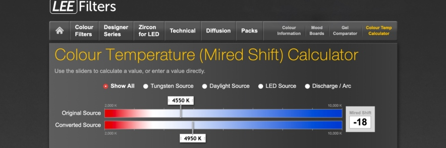 Lee Filters Mired Shift calculator page
