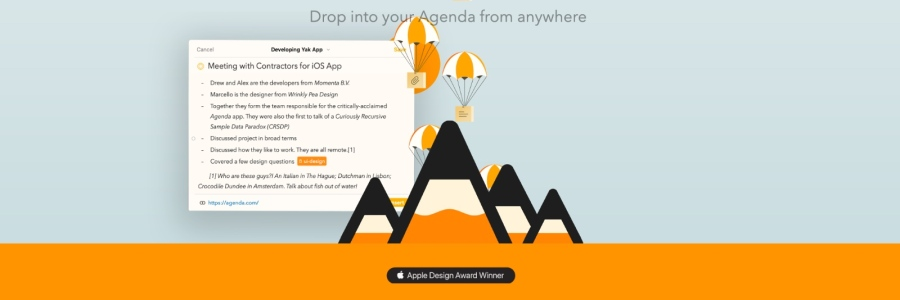 agenda note taking app
