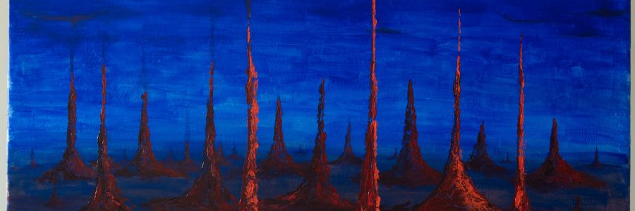 Fields of mourning, acrylic on paper, painting by the publisher
